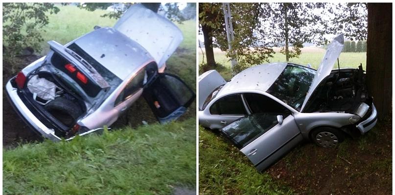 Kierowca zjechał z drogi. Auto uderzyło w drzewo - Zdjęcie główne