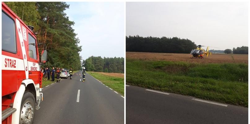 Próbowali ratować życie mężczyźnie. Helikopter lądował w pobliżu drogi - Zdjęcie główne