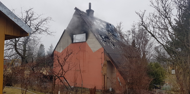 Pożar na terenie ogródków działkowych [FOTO] - Zdjęcie główne