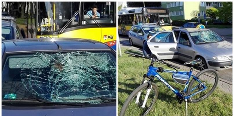 Rowerzysta pod kołami samochodu. Trafił do szpitala - Zdjęcie główne