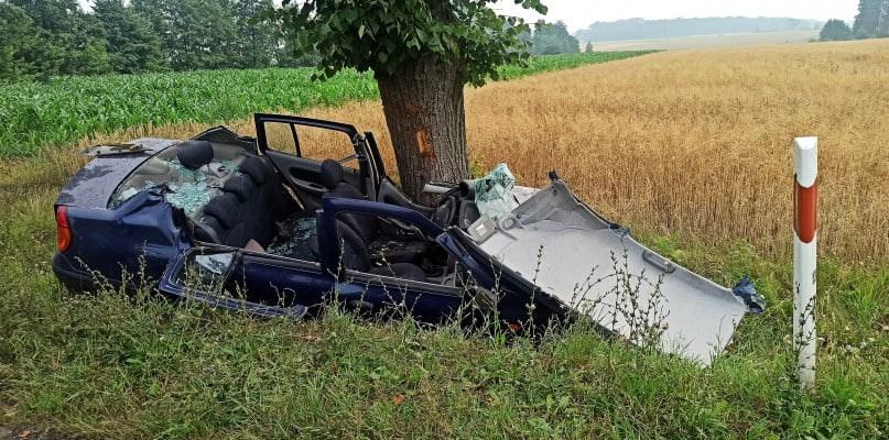 Samochód wypadł z drogi. Ranna kierująca zakleszczona w aucie [ZDJĘCIA] - Zdjęcie główne