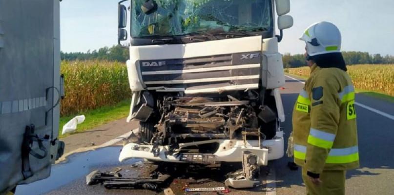 Wypadek w gm. Staroźreby. Zderzyły się trzy auta ciężarowe - Zdjęcie główne