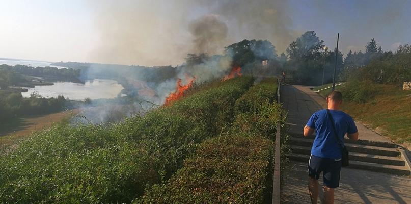 Pożar skarpy na Wzgórzu Tumskim na wysokości spichlerza - Zdjęcie główne