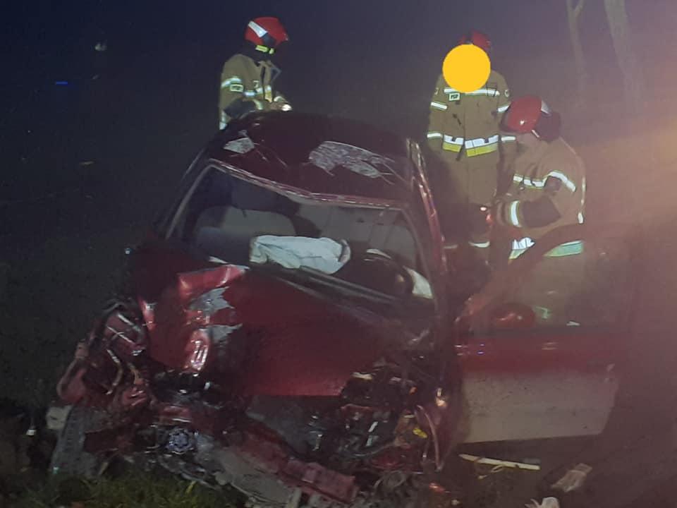 Wypadek pod Płockiem: samochód uderzyło w drzewo. Dwie osoby ranne - Zdjęcie główne