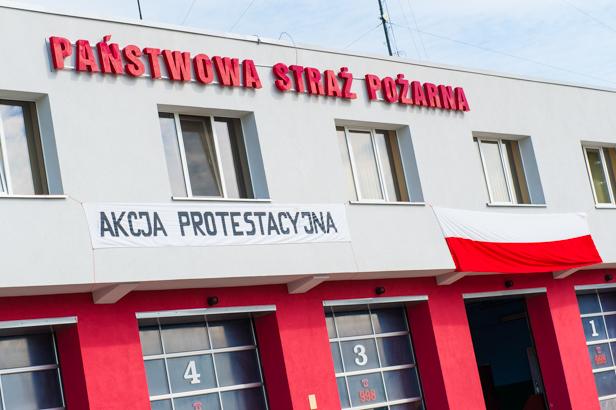 Akcja protestacyjna Straży Pożarnej - Zdjęcie główne