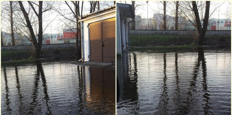 Wielkie jezioro przy garażach. Jest doraźne rozwiązanie problemu - Zdjęcie główne
