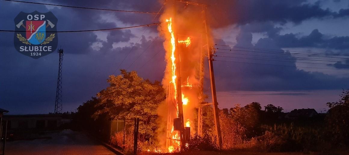 Pożar niedaleko Płocka. Piorun uderzył w transformator [ZDJĘCIA, FILM] - Zdjęcie główne