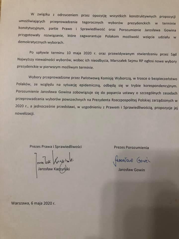 Będzie nowy termin wyborów prezydenckich! Kaczyński i Gowin zawarli porozumienie [PEŁEN KOMUNIKAT] - Zdjęcie główne