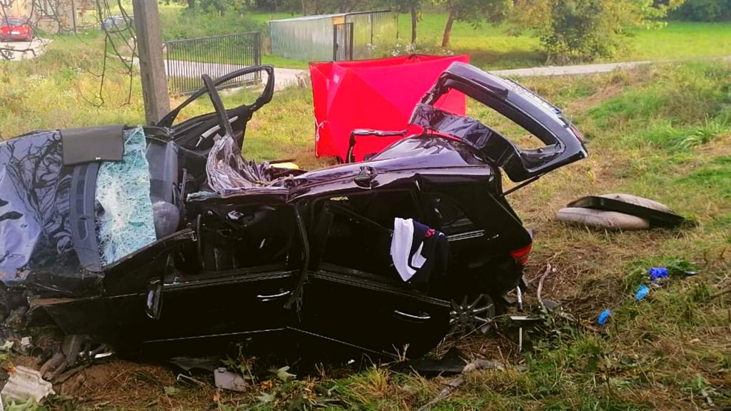Tragiczny wypadek pod Łodzią. Policja ustal tożsamość pasażerki. Kierowca Mercedesa walczy o życie - Zdjęcie główne