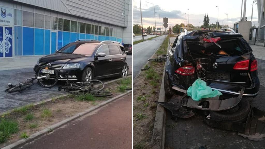 Groźny wypadek na Włókniarzy. Opel wypadł z drogi i staranował rowerzystów [ZDJĘCIA] - Zdjęcie główne